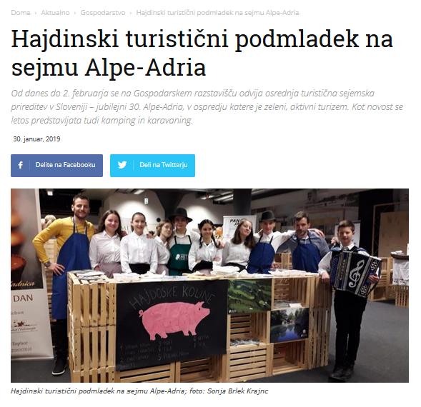 Naši učenci so na sejmu Alpe-Adria predstavili svoj projekt Hajdoške koline
