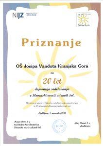Priznanje za dvajsetletno sodelovanje v Slovenski mreži zdravih šol