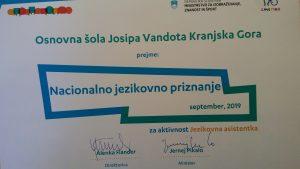 Naša šola je dobila Nacionalno jezikovno priznanje
