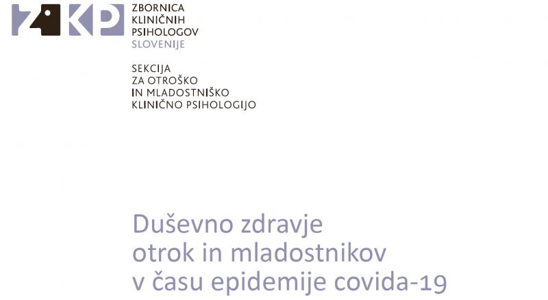 Priročnik: Duševno zdravje otrok in mladostnikov v času epidemije covida-19