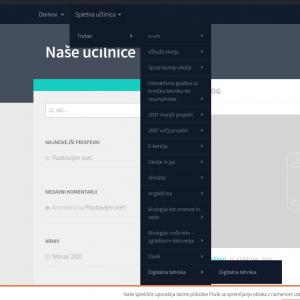 Slika s prikazom spletne učilnice kot elementom v meniju
