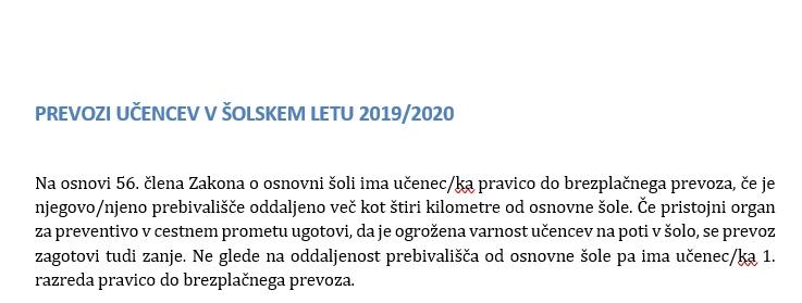 PREVOZI UČENCEV V ŠOLSKEM LETU 2019/2020